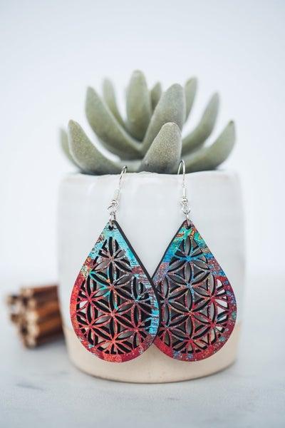 Hello Happiness Mandala wooden earrings medium