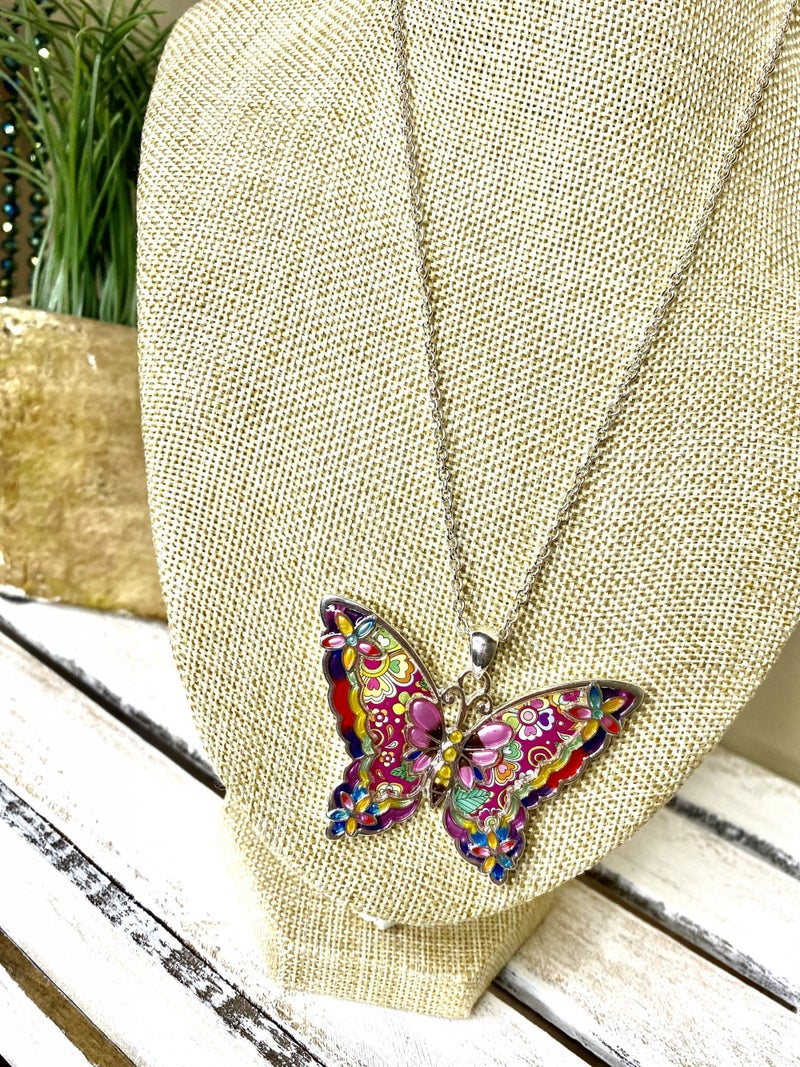Garden tie-dye butterfly necklace