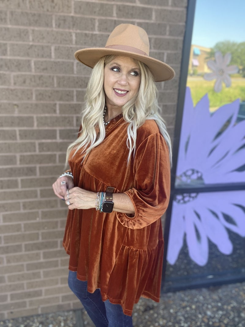 Velvet Tiered Button up Tunic by Umgee