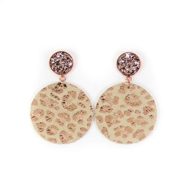 Metallic Rose Gold Leather Earrings