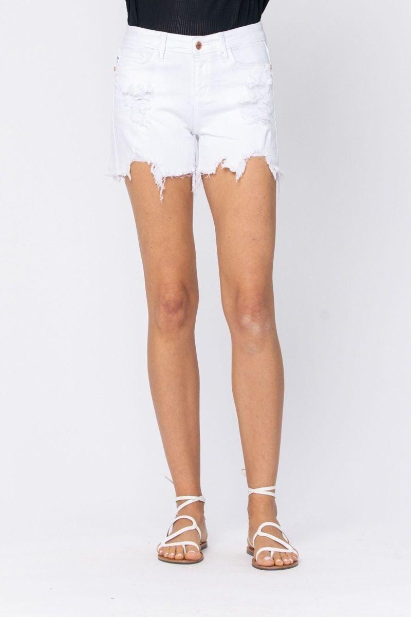 Judy  Blue Mid Rise White destroyed hem shorts