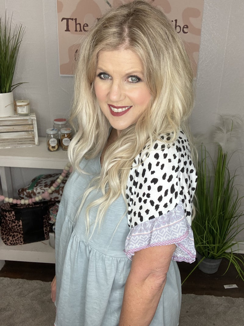 Flutter sleeve top with Cheetah and Aztec