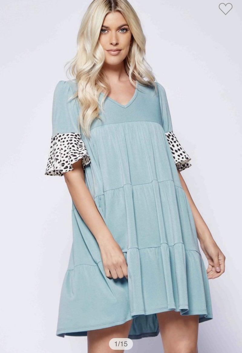 Sage Dress with Cheetah Sleeves