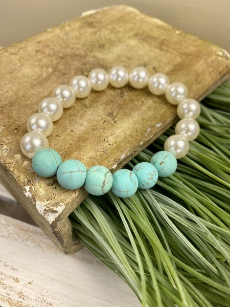Pearl and Turquoise  Stone stretch bracelet
