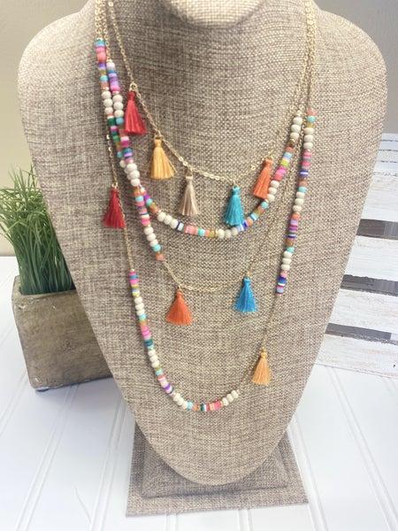 Make A Getaway tassel necklace