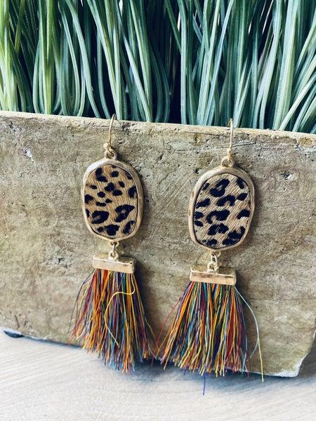 Leopard Fringe Earrings