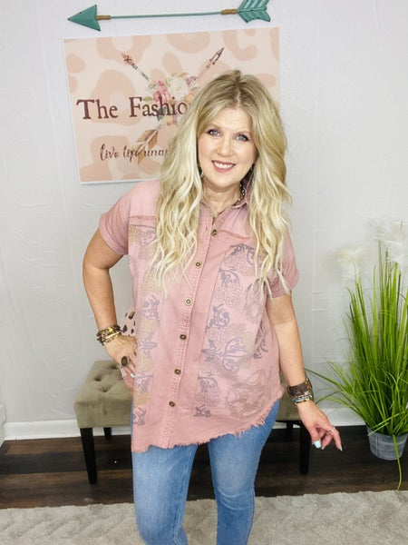 Tattoed Denim Button Down by Easel