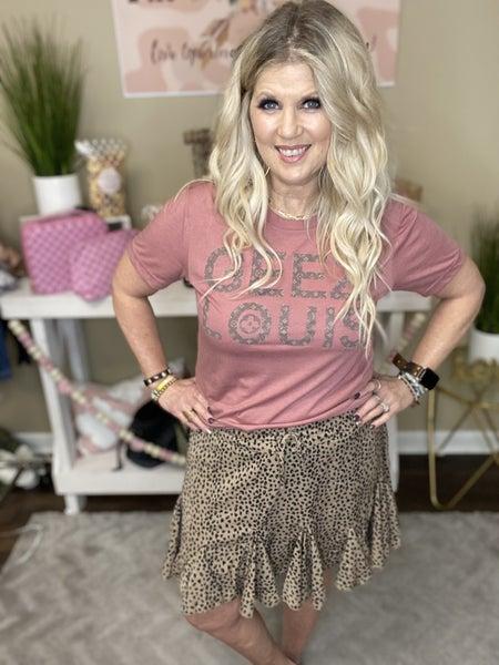 Cheetah skirt with ruffle inserts