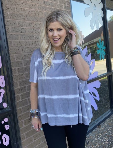 Gray and White Striped Summer Poncho