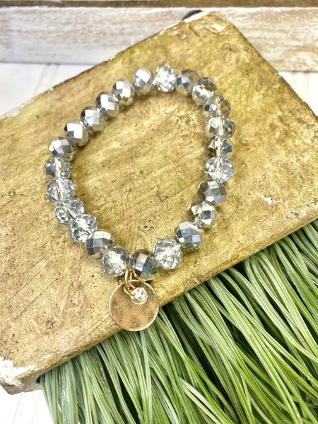 Faceted glass bead stretch bracelet