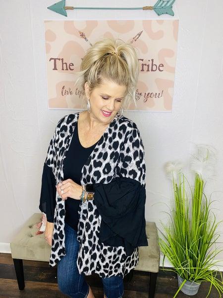 Leopard Kimono with Flared sleeve