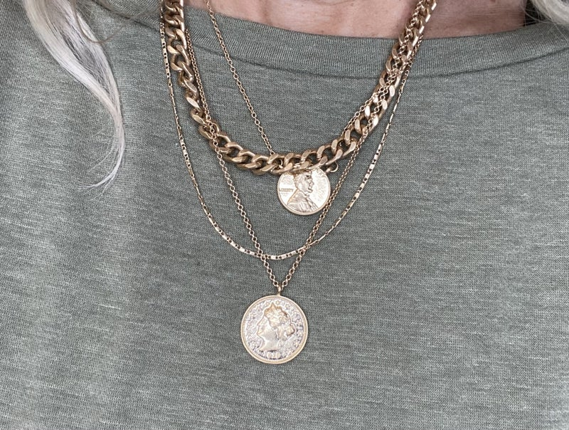4 Strand coin necklace