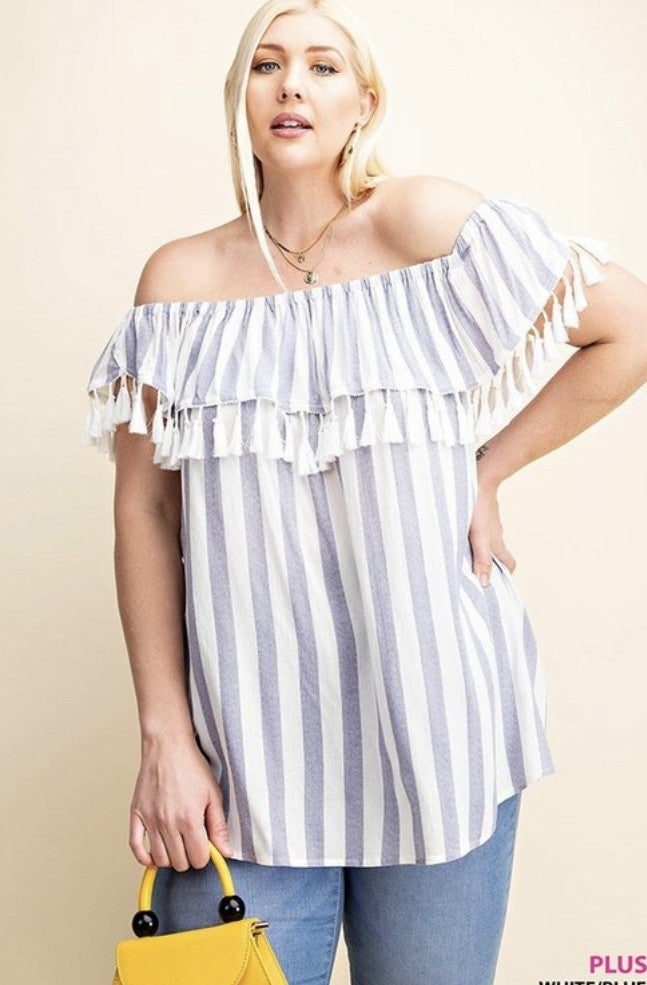 Plus Size Striped Top with Tassel Trim