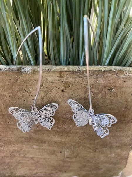 Silver Threaded Butterfly  Earrings