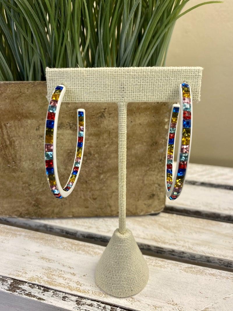 Multi colored hoop earrings