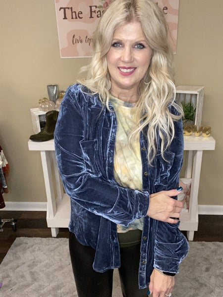 Steel Blue Button Down top from Umgee