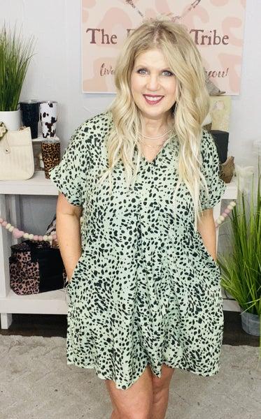 Sage Cheetah Dress/Top with pockets