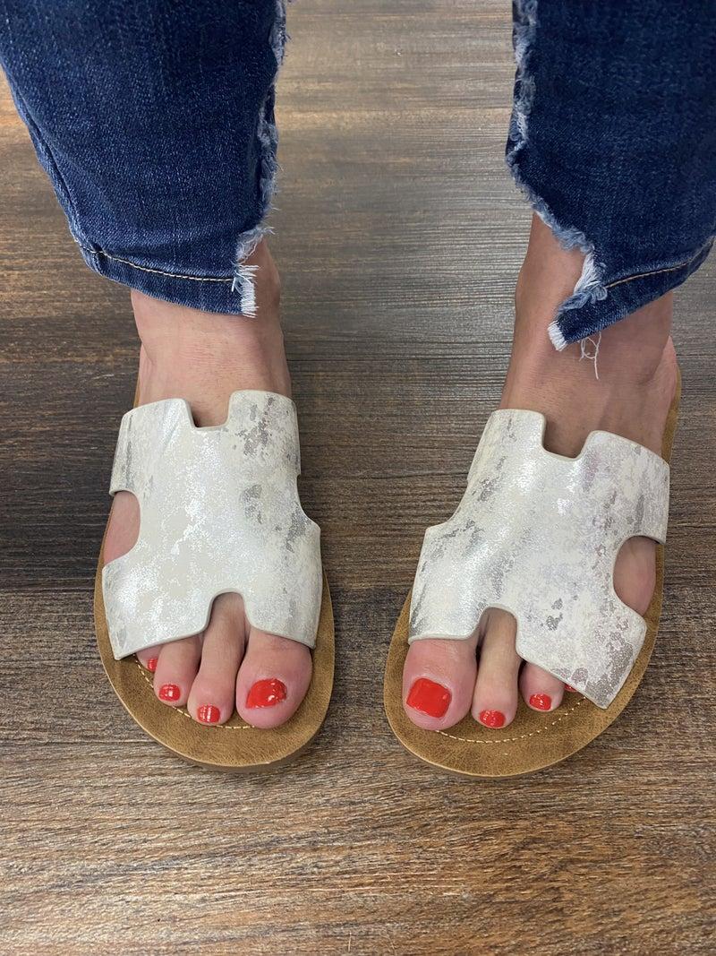 Corky's Metallic White Summer Slides