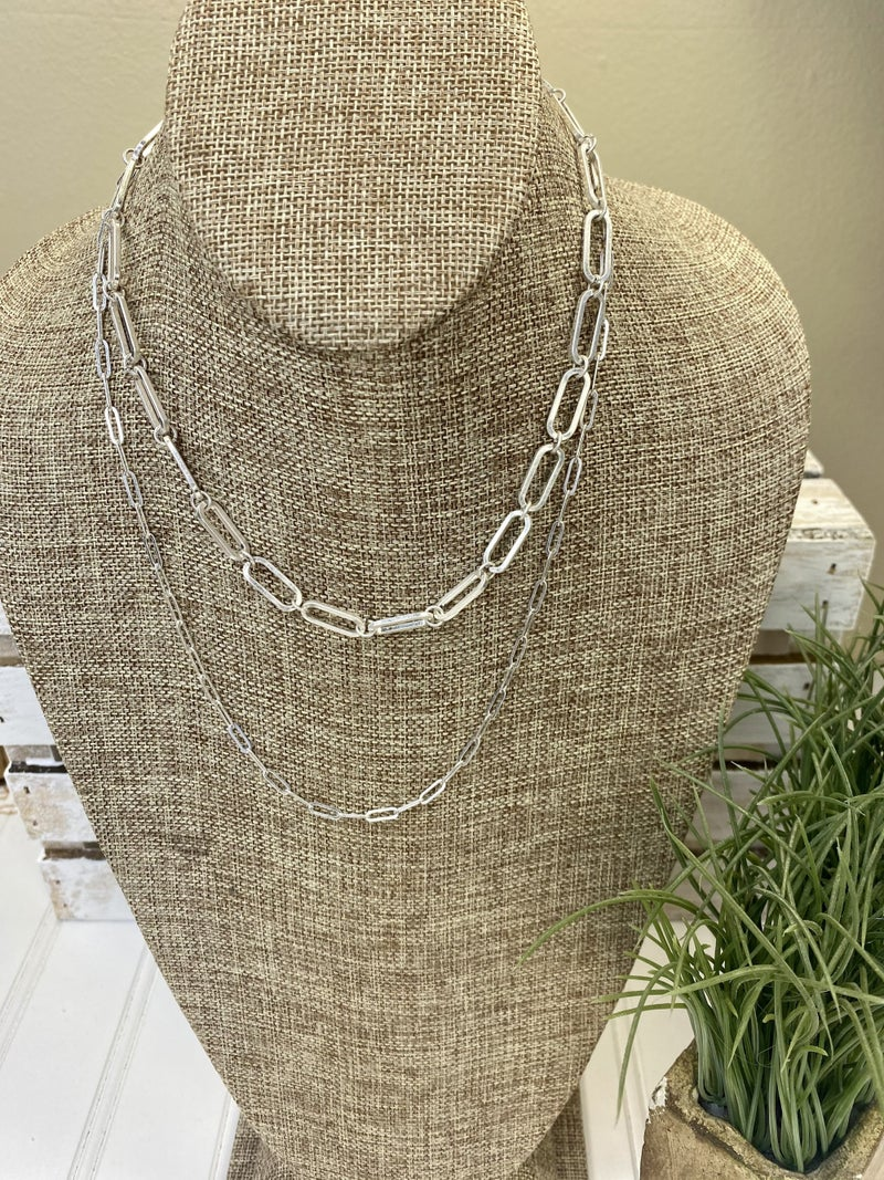 Double chain silver necklace
