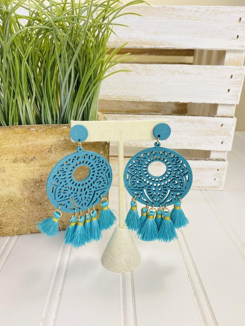 Tassel and Wood Boho Earring