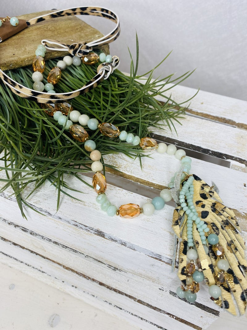 Mint and Leopard Pendant necklace with faux leather leopard pendant