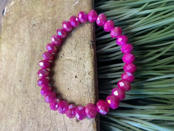 Hot Pink Beaded Stretch Bracelet