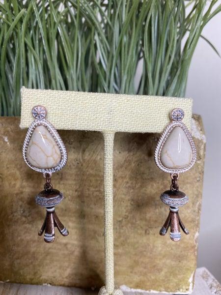 White squash blossom copper earrings