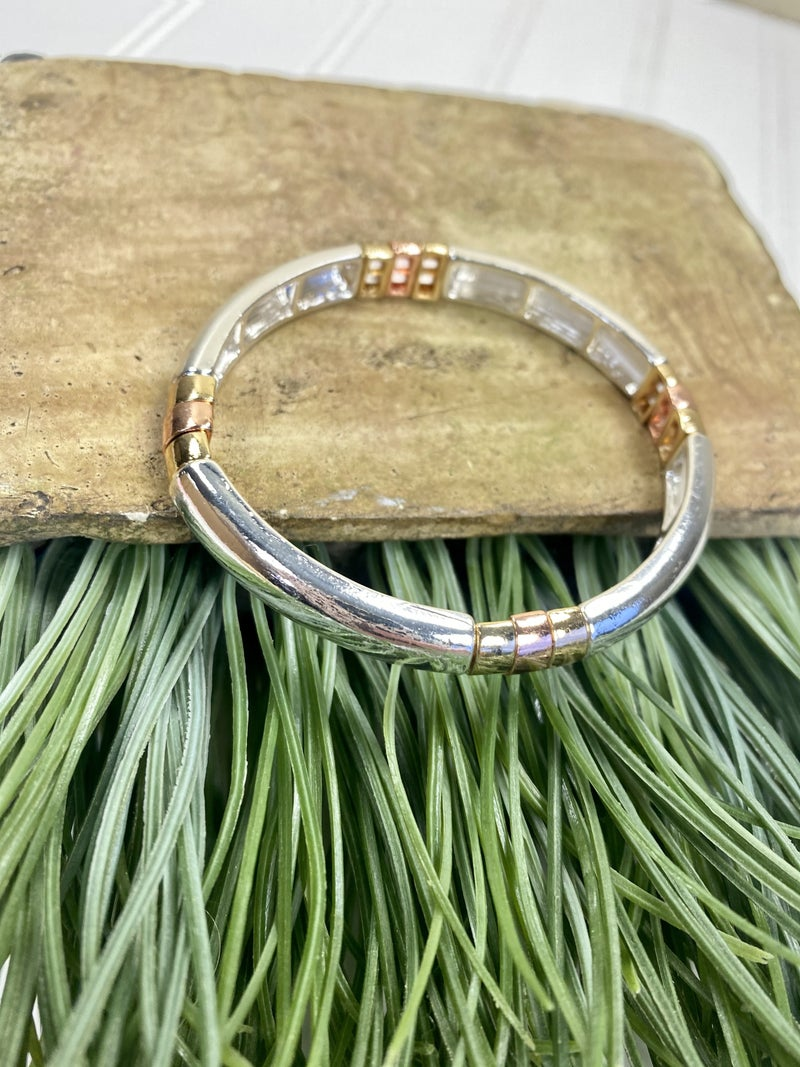 Gold and Silver Metal Stretch Bracelet