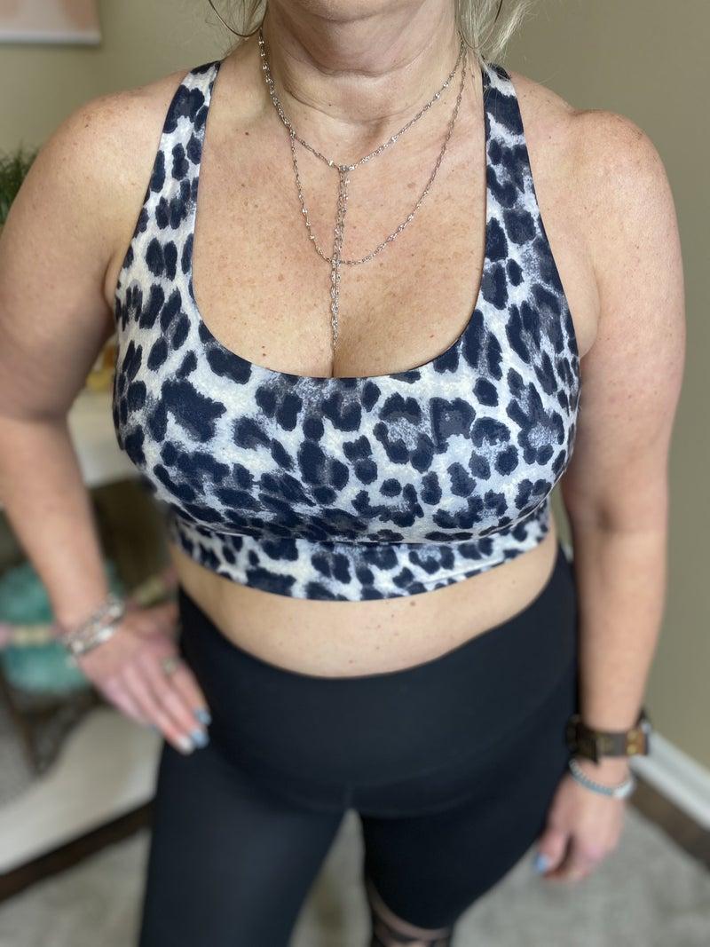 Leopard Print criss cross sports bra