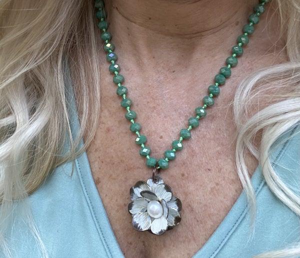 Handmade rose necklace
