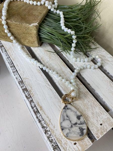 """White 38"""" Semi-Precious pendant necklace"""
