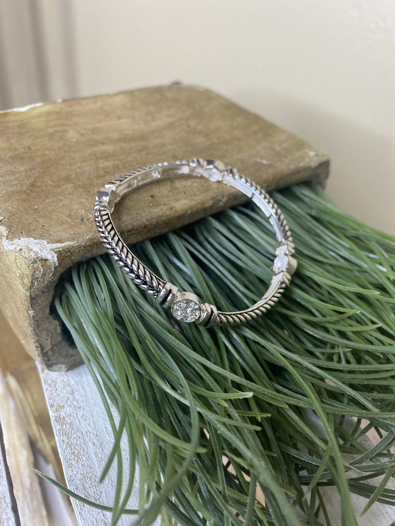 Silver stretch bangle with bling