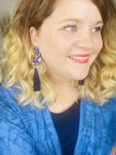 Floral navy tassel earrings