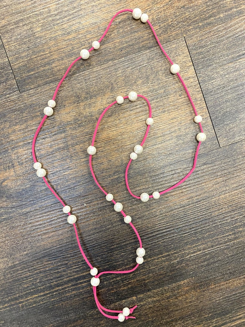Hot pink pearl strand necklace