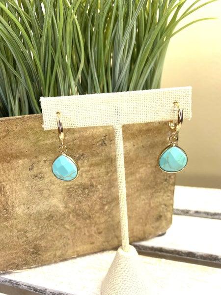 Semi-precious stone hoop dangle earring