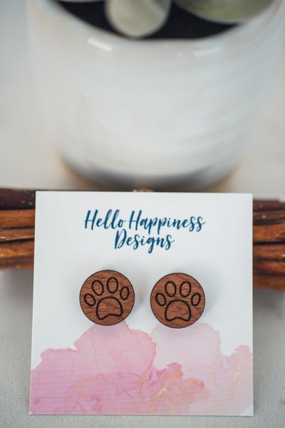 Hello Happiness wooden Paw Print Studs