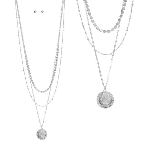 Silver Chain Coin layered necklace