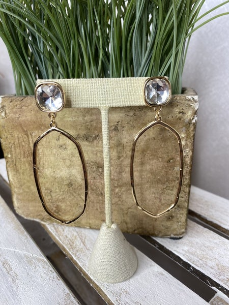 Gold abstract shaped earring with rhinestone post