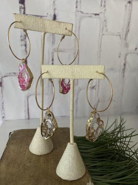 Geo stone Hoop earring