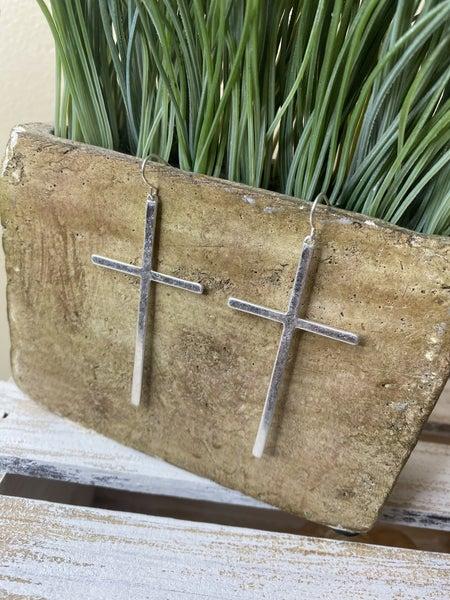 Brushed Silver Cross Dangle Earrings