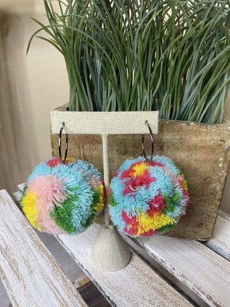 Floral Pom Pom earrings
