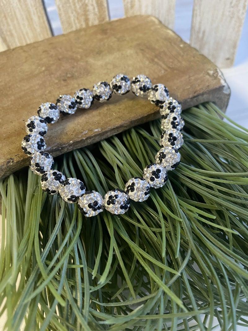 Black bling cheetah stretch bracelet