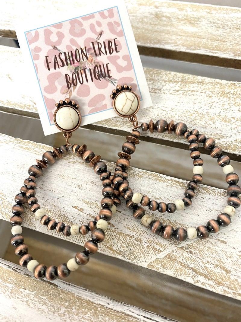 Copper and Cream Navajo bead Hoops