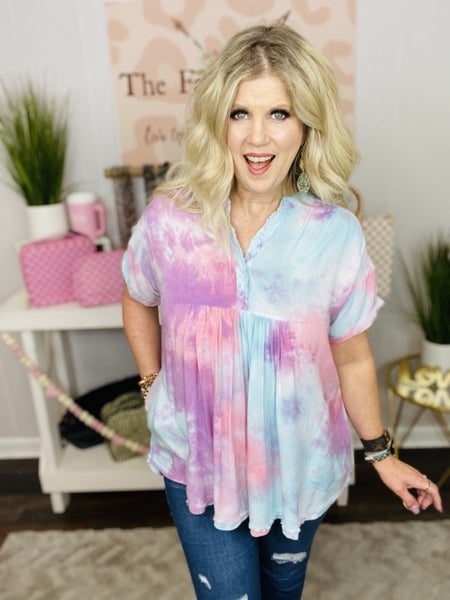 Easel Tie Dye top with pockets