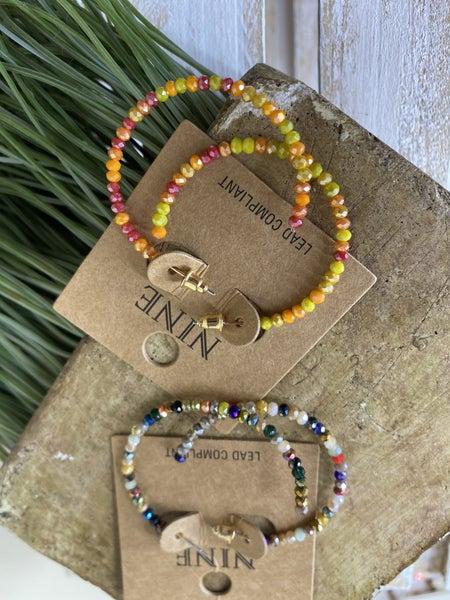 Glass bead hoop earrings