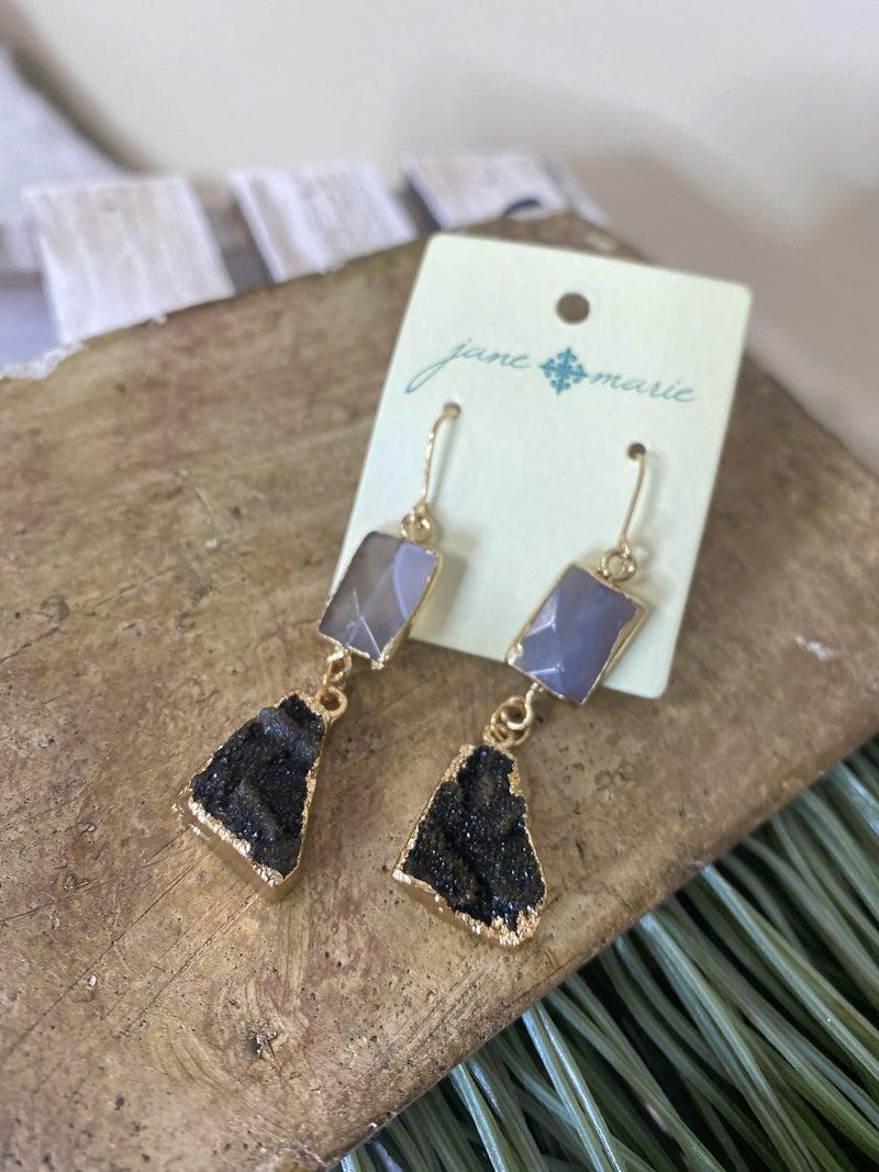 Druzy dangle earring