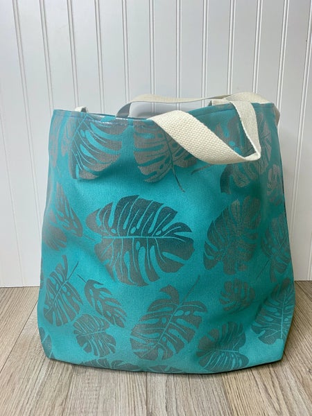 Turquoise Palm Tote