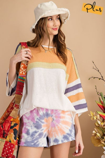 Faded Coral Color block top from Easel
