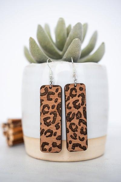 Hello Happiness Wooden Leopard Earrings
