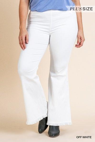 Off White Pull on Flare Leg Pants